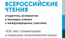 XХIХ Всероссийские чтения студентов, аспирантов, молодых ученых с международным участием «XXI ВЕК: ГУМАНИТАРНЫЕ И СОЦИАЛЬНО-ЭКОНОМИЧЕСКИЕ НАУКИ»