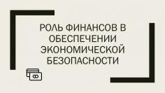 Роль финансов в обеспечении экономической безопасности Российской Федерации